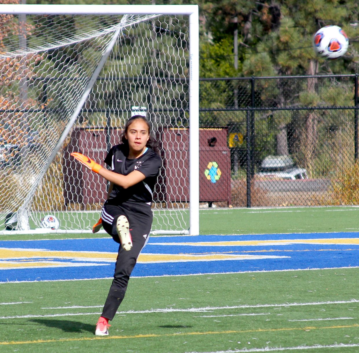 Whittell goalkeeper Genesis Alvarez clears the Warriors zone Thursday against Incline.