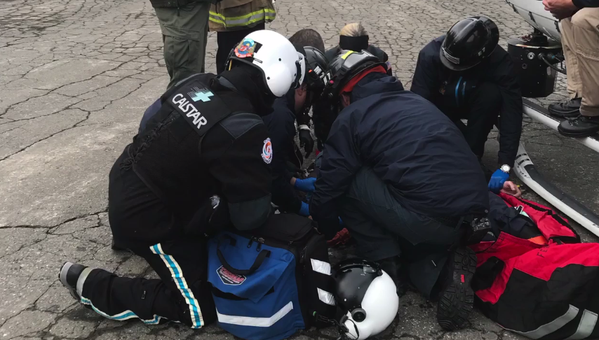 A man was rescued Sunday after falling 200-300 feet while skiing on Mount Tallac.