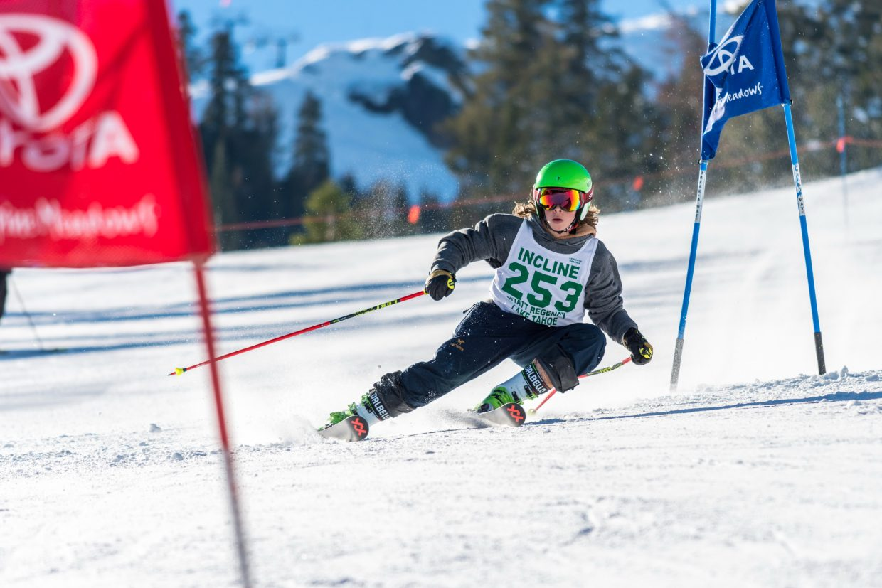 Incline's Otto Albrecht speeds down the giant slalom course at Alpine Meadows in the first meet of the season.