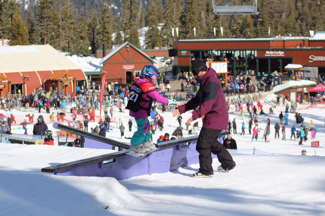 Zaria Steeves, of South Lake Tahoe, competes Saturday in rail jam at Sierra-at-Tahoe.