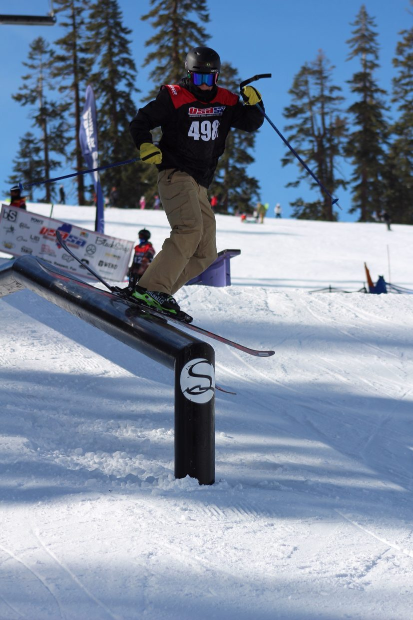Jaxon King, of South Lake Tahoe, rides the rail Saturday at Sierra-at-Tahoe.