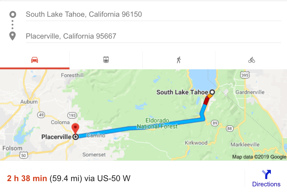 A 2½-hour drive from South Lake Tahoe to Placerville? Traffic ... on