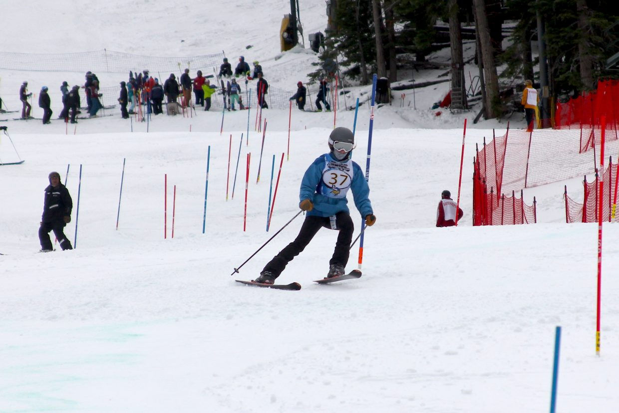 South Tahoe's Jamie Johnson makes her way down Heavenly's slalom course.