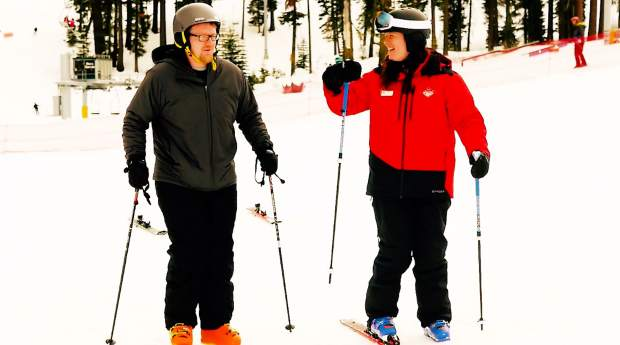 Nicola with Sierra-at-Tahoe offers a tip during a recent lesson.