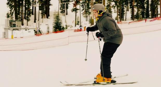 Editor Ryan Hoffman exhibits extreme concentration out at Sierra-at-Tahoe.