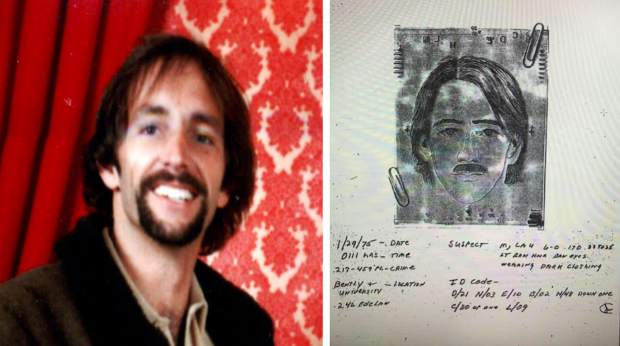 A composite drawing of a suspect in an attempted burglary in Los Gatos in the '70s strongly resembles Joseph Holt, pictured on the left.