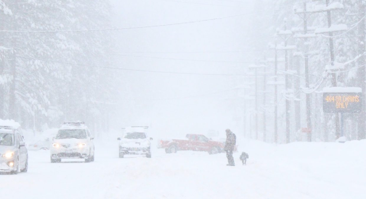 Blizzard conditions limit visibility at Lake Tahoe Feb. 4.