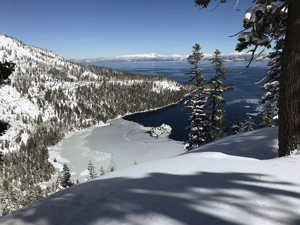 A view of Emerald Bay Tuesday while skiing down Maggie's Peaks North.