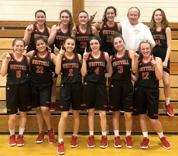 The 2018-19 West League co-champion Whittell Lady Warriors are (top row, from left) Grace Wolski, Kyla Rippet, Anna White, Madison Burch, Head Coach Phil Bryant, Olivia Craig, (bottom from left) Ava Campbell, Andrea Smith, Jessica Johnson, Trinity Kervada-McGowan, Shaylie Rippet and Brianna Johns.