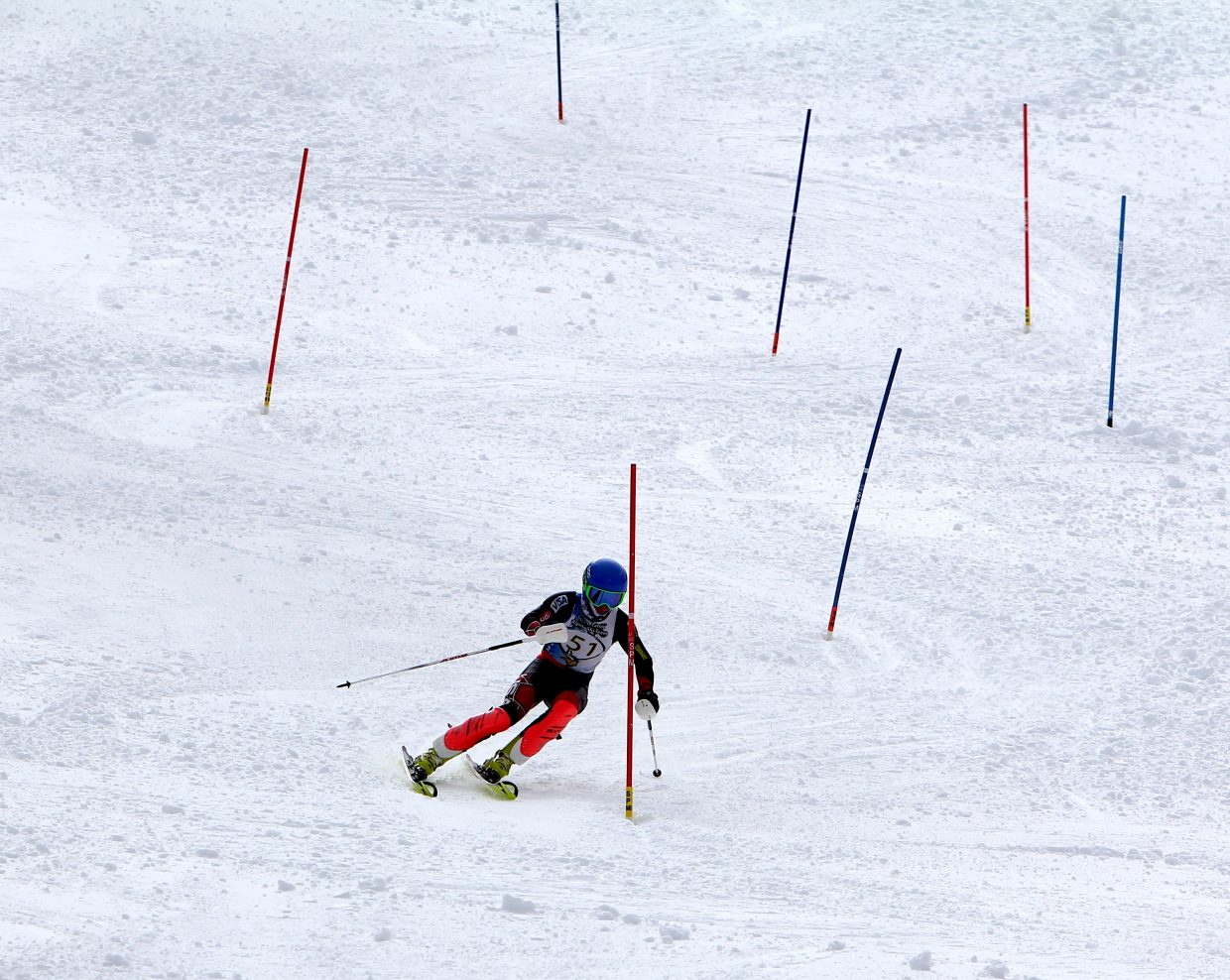 South Tahoe's Luke Allen speeds down the slalom course Monday at Sierra-at-Tahoe.