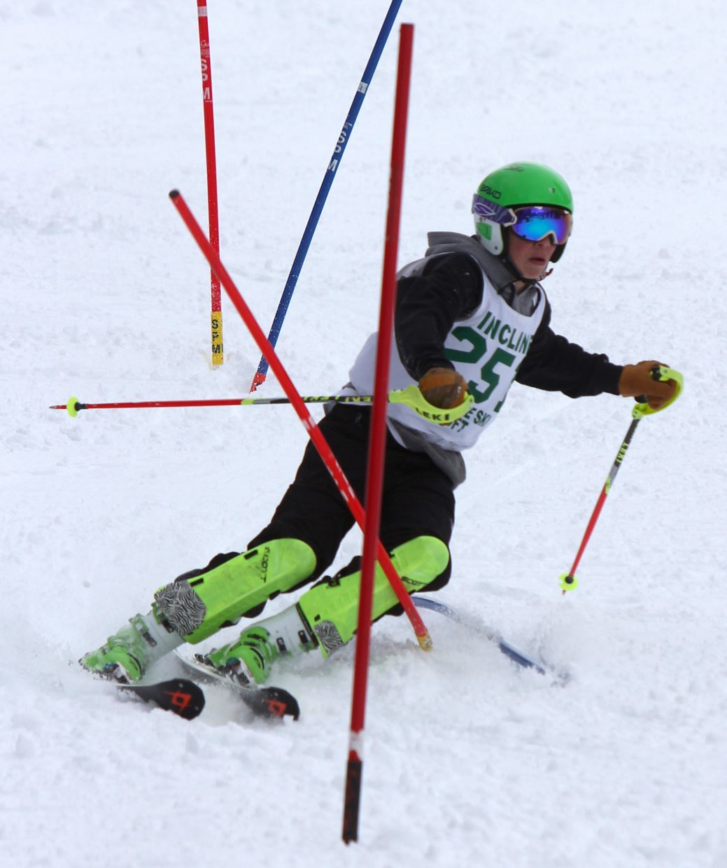 Incline's Otto Albrecht charges down the slalom course Monday on his way to ninth place.