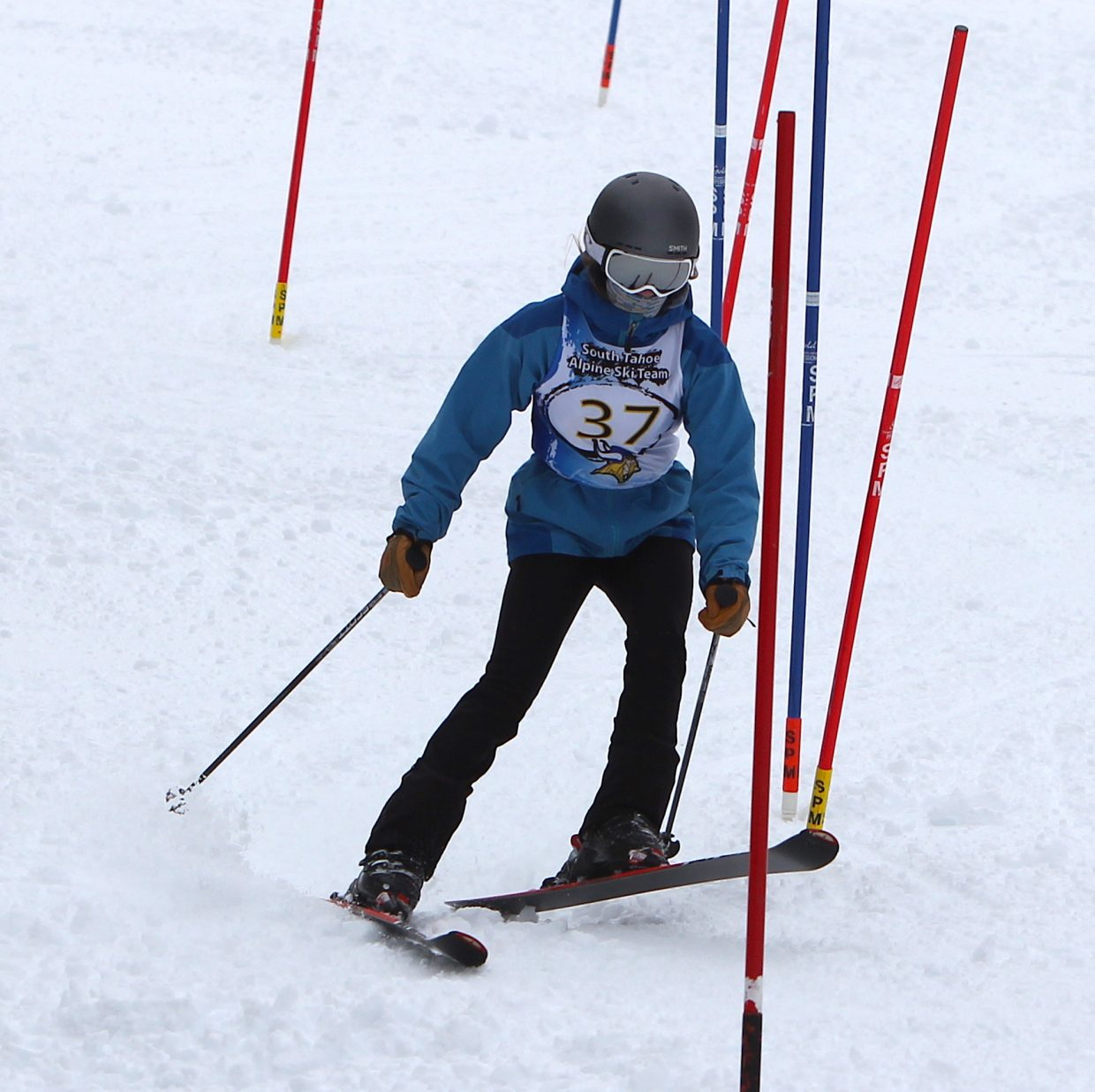 Jamie Johnson on her first run Monday for South Tahoe.