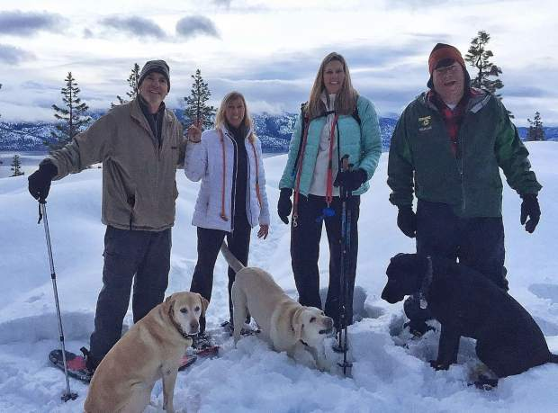 Out for a morning snowshoe with the Wassou Crew yesterday. With the Labradors stealing the show, as usual.