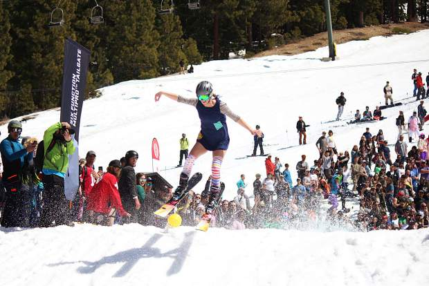 A competitor grabs some air after crossing the pond at Heavenly on Saturday, April 13.