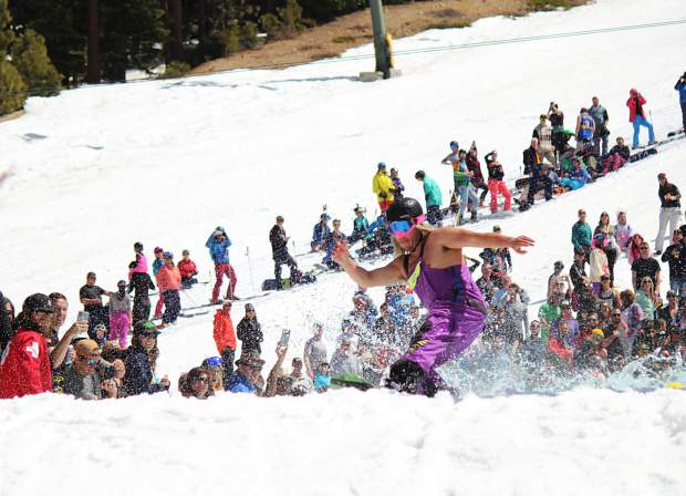 A competitor reaches the back of the pond at Heavenly Mountain Resort.