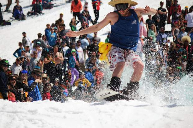 A snowboarder reaches the back of the pond at Heavenly Mountain Resort.