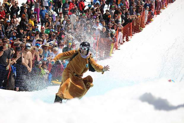 A jedi warrior blasts across the pond during Saturday's pond skim challenge at Heavenly.