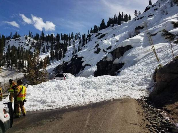 An avalanche dropped snow onto U.S. 50 Sunday, April 7.