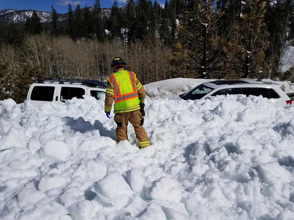 A snow slide forced the temporary closure of U.S. 50 Sunday.