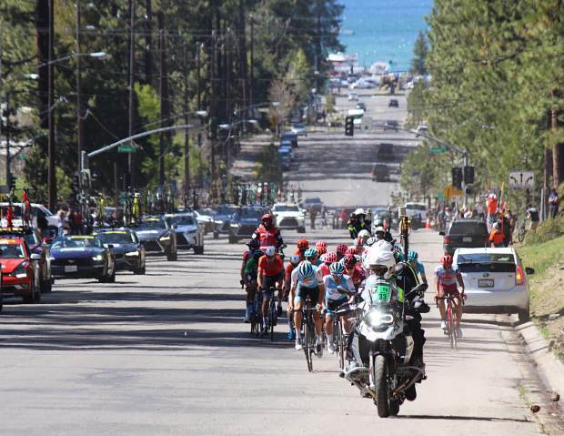 Cyclists make their way up Ski Run Boulevard in South Lake Tahoe to finish stage 2 of the Amgen Tour of California.