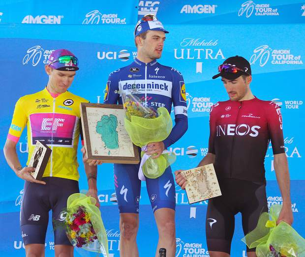 the top three riders of Amgen Tour of California's second stage, (from left) Teejay van Garderen, Kasper Asgreen and Gianna Moscon, were all given three dimensional Lake Tahoe maps as part of their rewards.