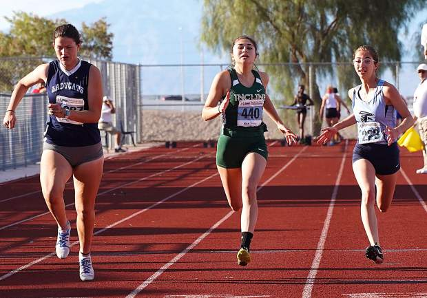 Incline sophomore Millie Jenkins competes in the 100-meter dash.