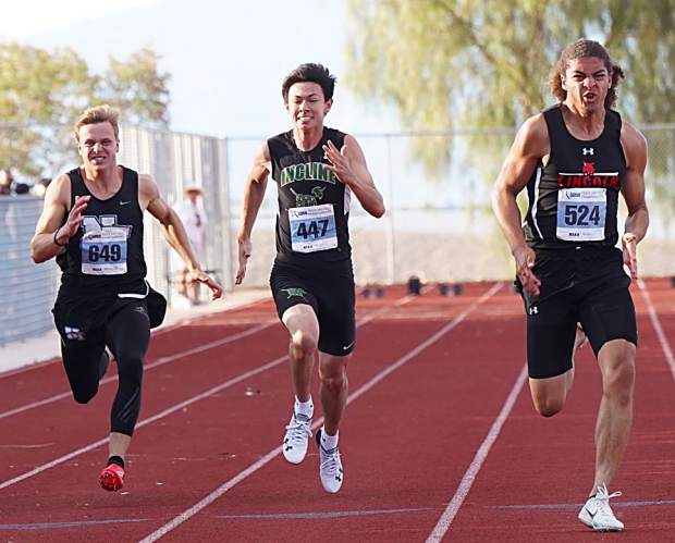 Incline sophomore Dylan Cleary competes in the 100-meter dash.