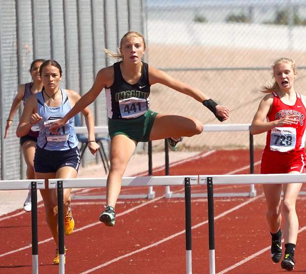 Incline freshman Mattison Lampe records a personal best in the 300-meter hurdles and finished in second place.