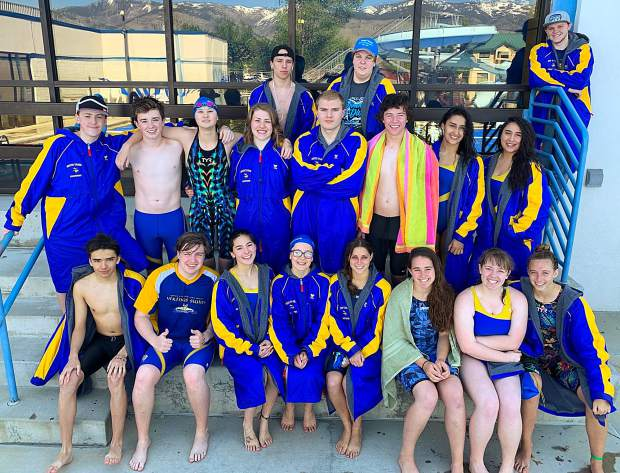 The South Tahoe swim team included (top row from left) Kale Russell, Jay Alford, Pearce Tanner, (middle row, from left) Westin Terpining, Sam Evans, Alex Otomo, Summer Furrer, Tristan Klasko, Luke Allen, Quetzy Ruiz, Lupita Jimenez Vazquez, (front row, from left) Jerry Guebard, Douglas Abbott, Elizabeth Nakamoto, Darby Creegan, Hannah Lucas, Alexis Haven, Madelyn Evans and Hannah Trew.