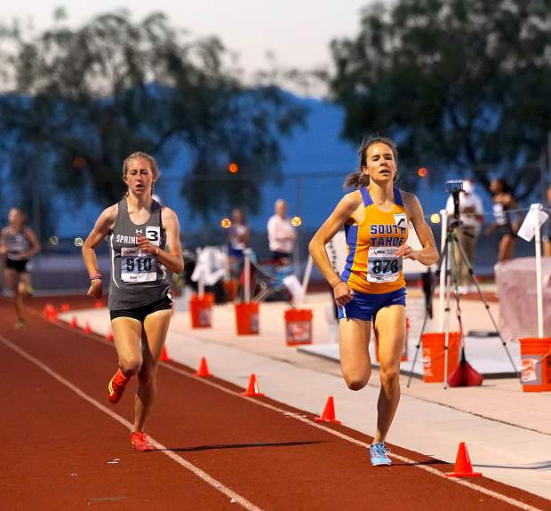 South Tahoe's Carissa Buchholz pushes to victory Friday night in the 1,600-meter run.