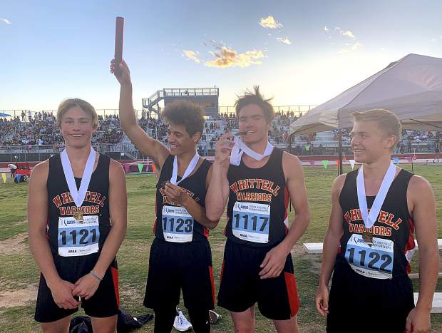 The Whittell Warriors 4x100 and 4x200 relay team of (from left) Dylan Wade, Isaiah Womack, Gunnar Barnwell and Jack White finished third in both races.