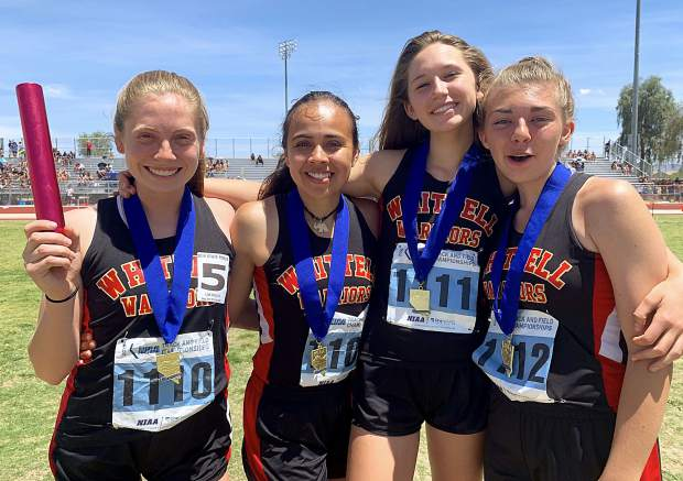 Whittell's state championship 4x400 relay team is (from left) Ava Campbell, Genesis Alvarez, Lila Humlick and Olivia Craig.