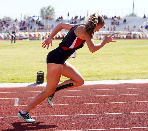 Whittell's Anna White gets out of the starting block in the 400-meter run.