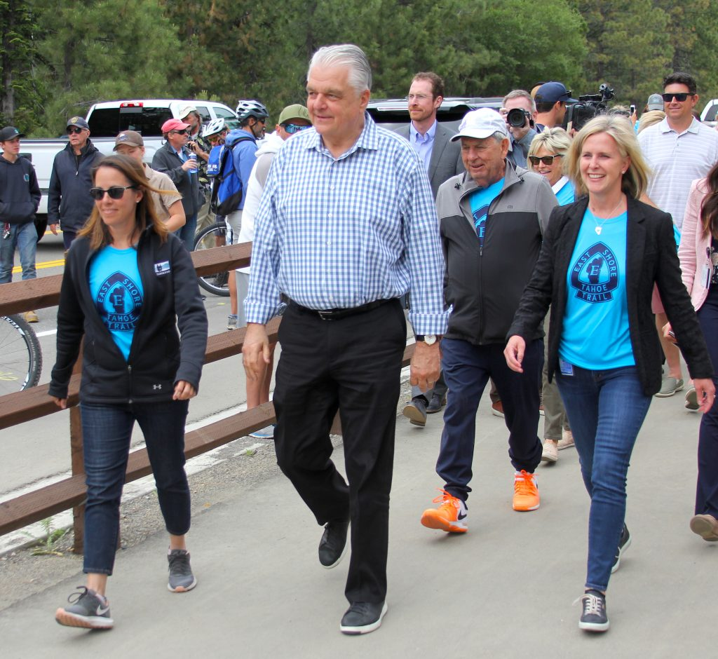 Gov. Steve Sisolak walks on the new path in Incline  Village.