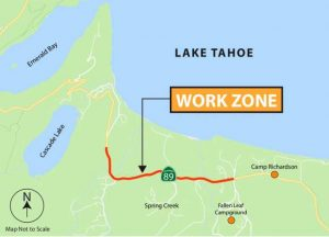 Expect delays on Highway 89 near Fallen Leaf Lake