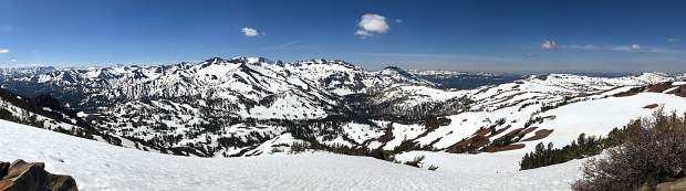 A panoramic view of the Sierra Nevada looking south and southwest from Sonora Peak.