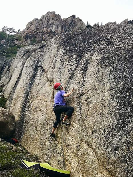 Bouldering at Chipmunk Flat just below the snowline on the Sonora Pass Highway before going on a ski tour the next day.