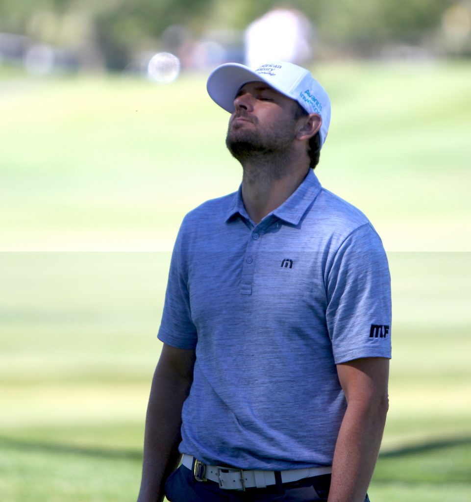 Mardy Fish reacts to a missed putt.