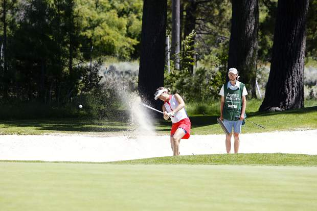Dylan Dreyer hits a ball out of a bunker at Edgewood Tahoe.