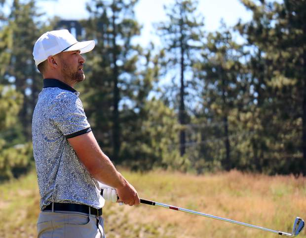 Justin TImberlake watches his shot sail toward the green during the ACC on Friday, July 12, 2019 at Edgewood Tahoe.