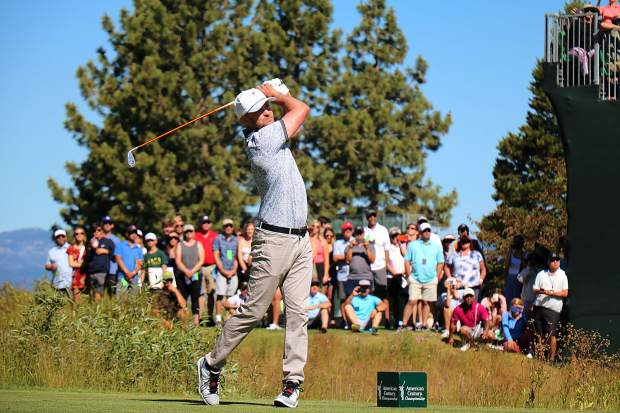 Justin Timberlake hits a drive during round one of the American Century Championship on Friday, July 12, 2019 at Edgewood Tahoe.