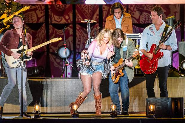 Miranda Lambert performing at the Harveys Lake Tahoe outdoor concert venue on Thursday, July 18.