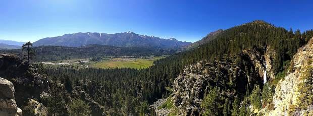 A panoramic view of Leavitt Falls and Walker River in the background.