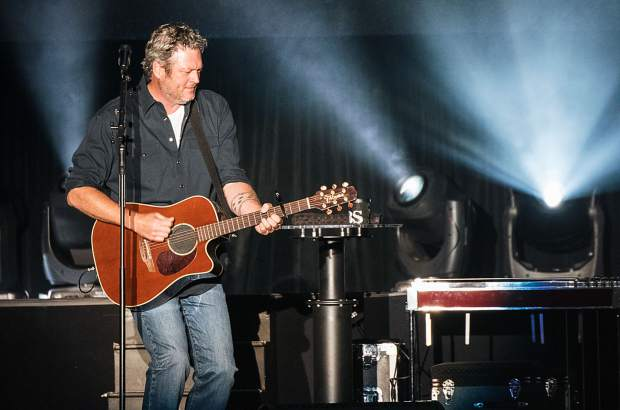 Blake Shelton performing at the Harveys Lake Tahoe outdoor concert venue on Friday, July 12.