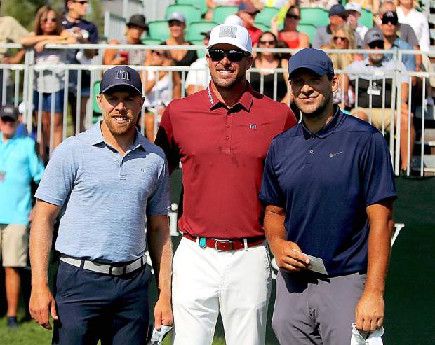 From left, Joe Pavelski, Mark Mulder and Tony Romo on the first tee during the final round of the 2018 American Century Championship.