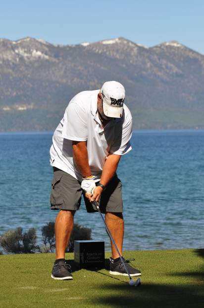 Larry the Cable Guy lines up his tee shot Tuesday.