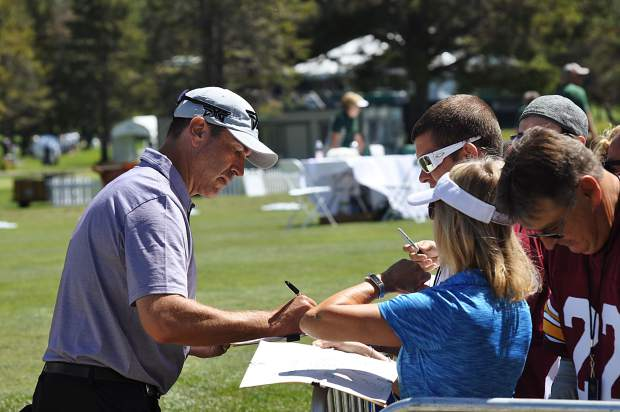 Comedian and actor Rob Riggle signs autographs at Edgewood Tahoe Tuesday.