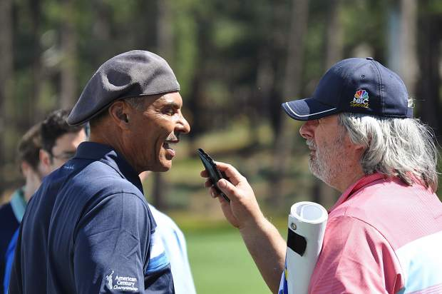 Tahoe celebrity Howie Nave, right, interviews former NFL head coach Herm Edwards.