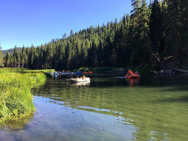Rafters float down the Truckee River on Tuesday, July 30.