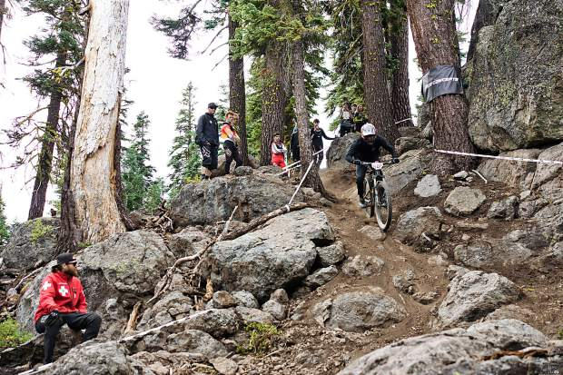 Duncan Nason rides down a trail at Northstar California Resort on Sunday, Sept. 22. Nason won four of the five events in the downhill bike series.